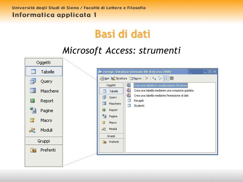 Basi di dati Microsoft Access: strumenti