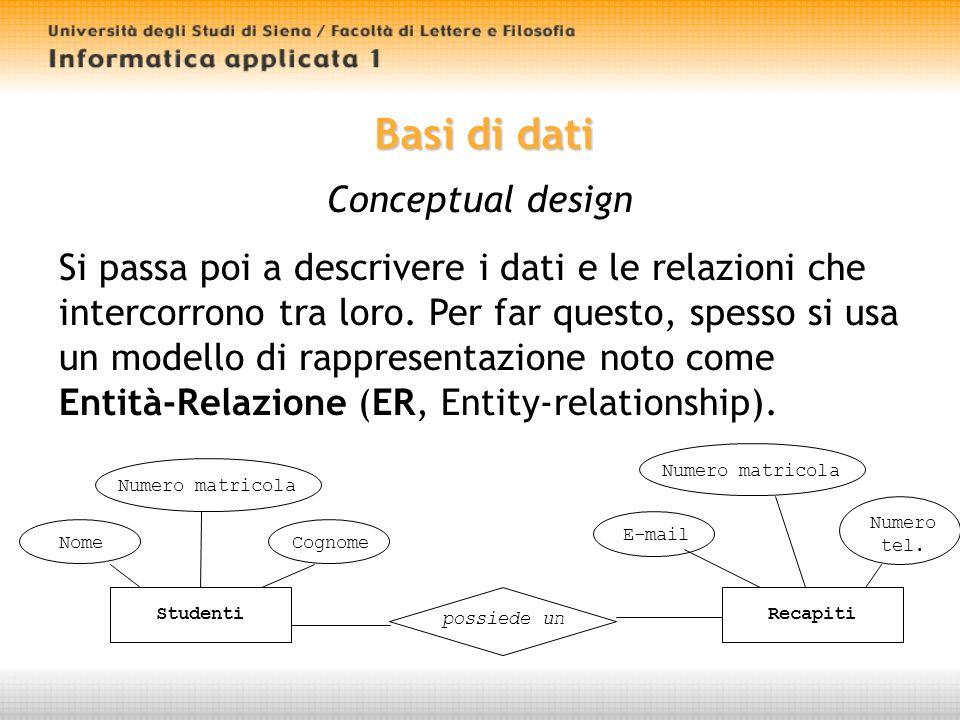Basi di dati Conceptual design Si passa poi a descrivere i dati e le relazioni che intercorrono tra loro.