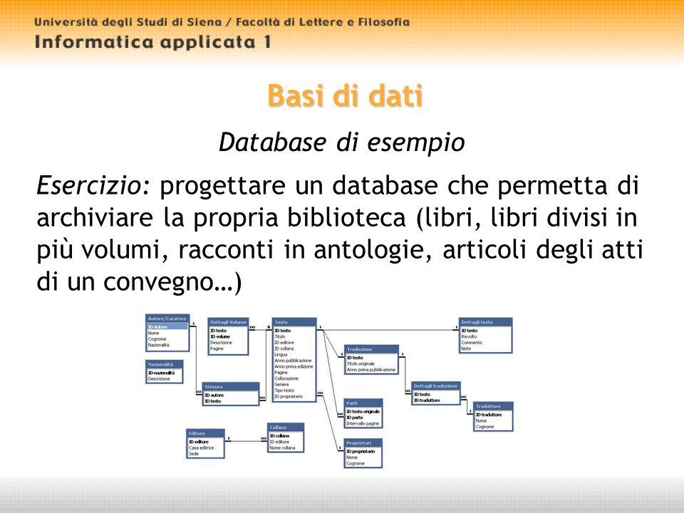 Basi di dati Database di esempio Esercizio: progettare un database che permetta di archiviare la propria biblioteca (libri, libri divisi in più volumi, racconti in antologie, articoli degli atti di un convegno…)