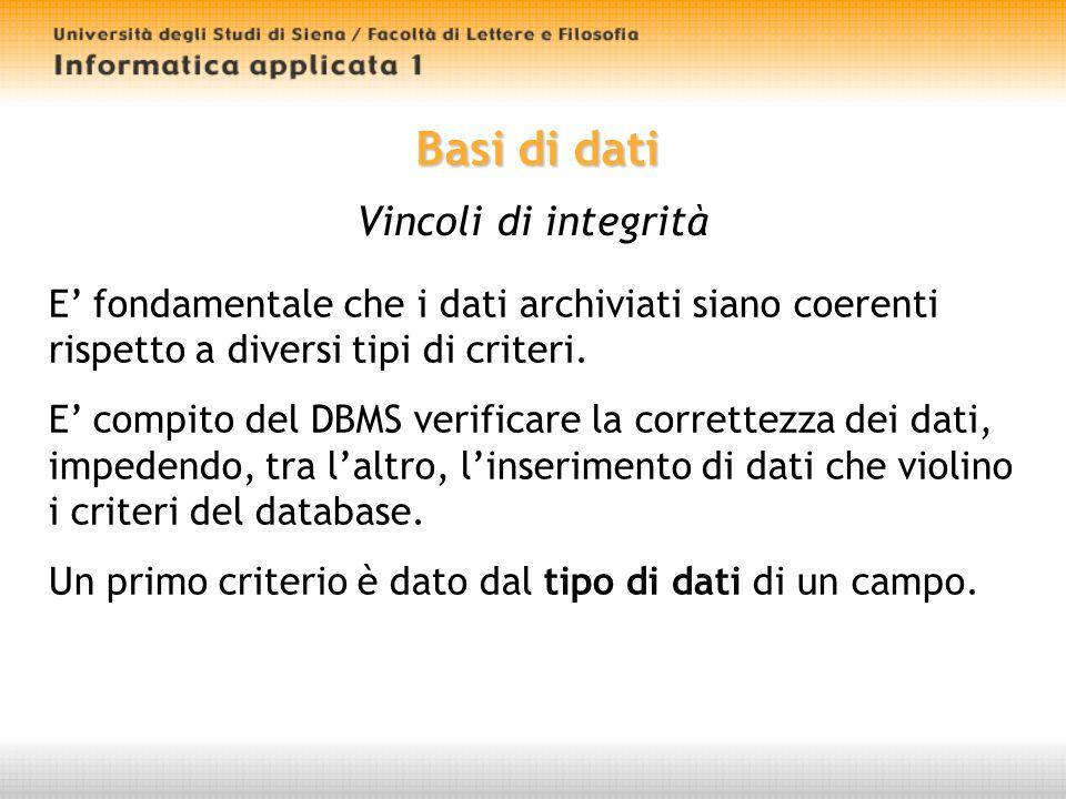 Basi di dati Progettazione Progettare un database è unattività che richiede diverse fasi.