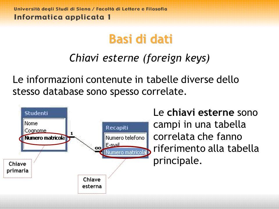 Basi di dati Chiavi esterne (foreign keys) Le informazioni contenute in tabelle diverse dello stesso database sono spesso correlate.