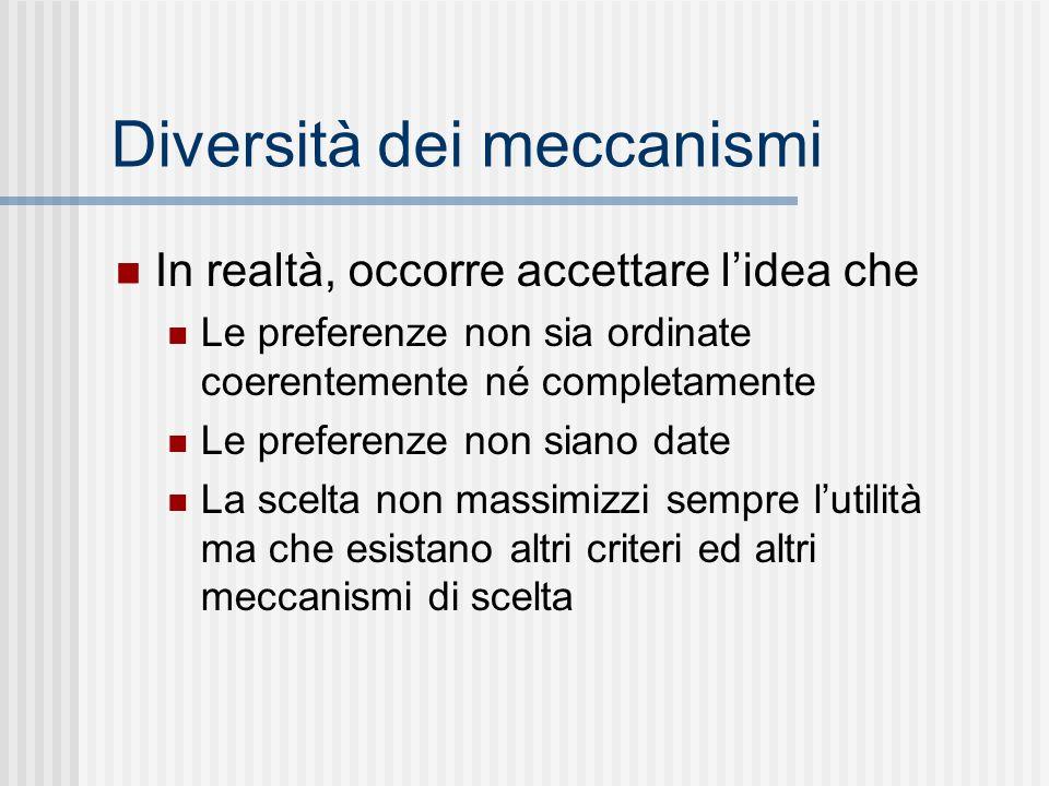 Diversità dei meccanismi In realtà, occorre accettare lidea che Le preferenze non sia ordinate coerentemente né completamente Le preferenze non siano