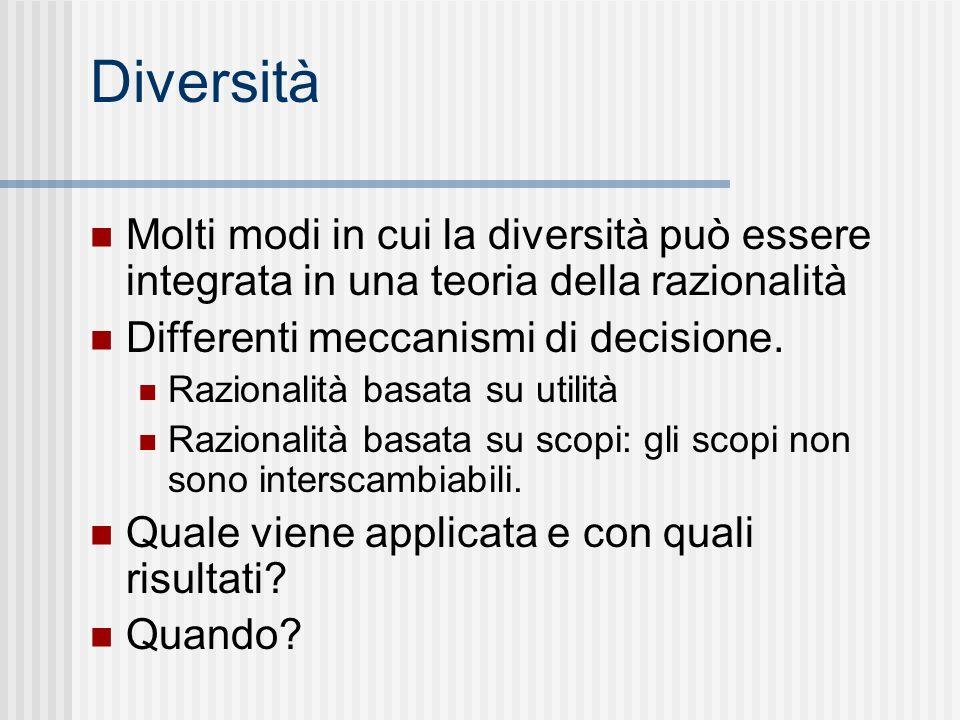 Diversità Molti modi in cui la diversità può essere integrata in una teoria della razionalità Differenti meccanismi di decisione. Razionalità basata s