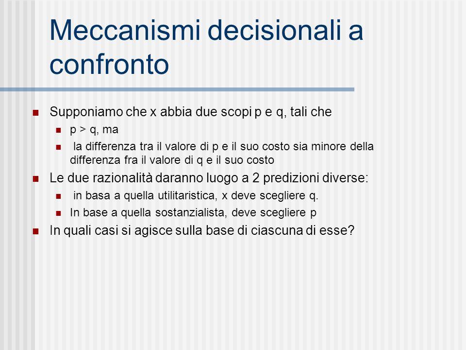 Meccanismi decisionali a confronto Supponiamo che x abbia due scopi p e q, tali che p > q, ma la differenza tra il valore di p e il suo costo sia mino