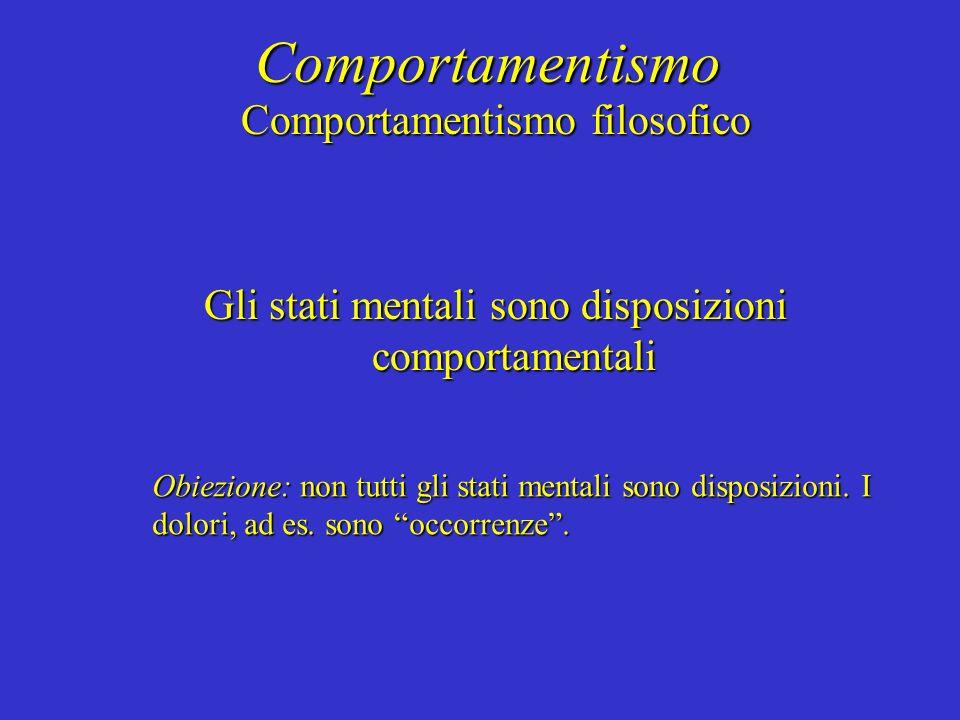 Comportamentismo Comportamentismo filosofico Gli stati mentali sono disposizioni comportamentali Obiezione: non tutti gli stati mentali sono disposizioni.
