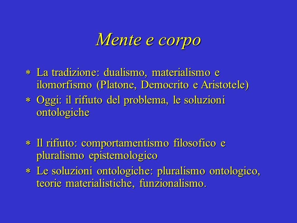 Mente e corpo La tradizione: dualismo, materialismo e ilomorfismo (Platone, Democrito e Aristotele) La tradizione: dualismo, materialismo e ilomorfism