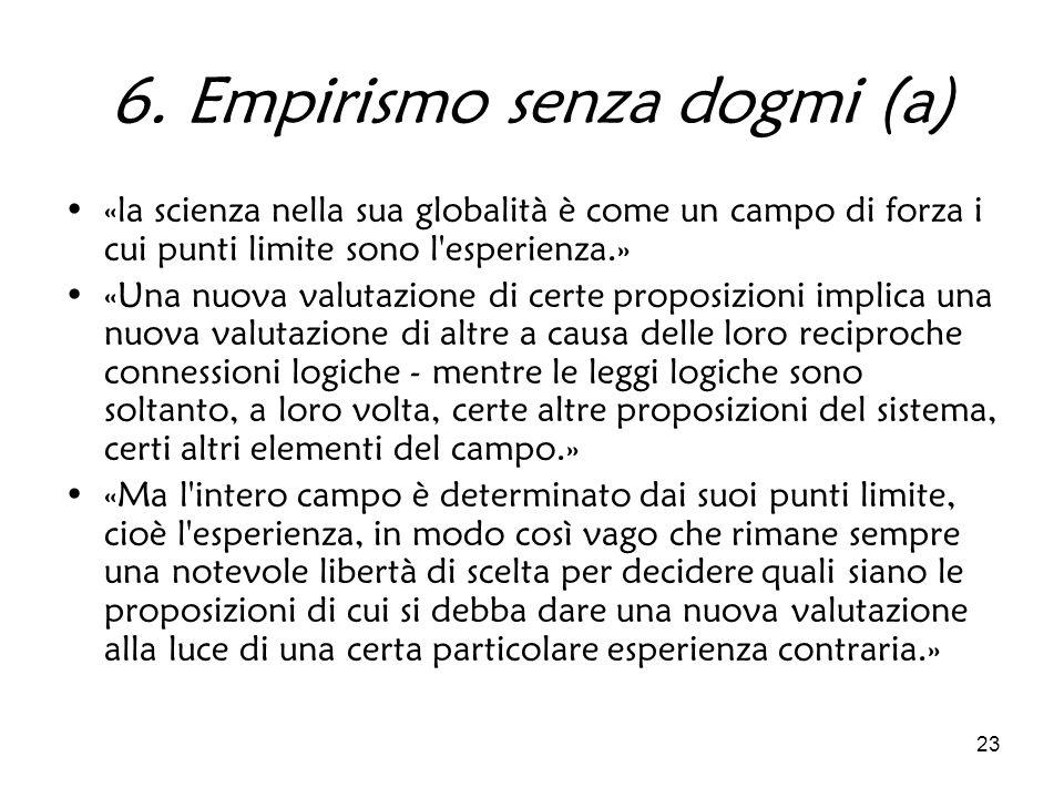 23 6. Empirismo senza dogmi (a) «la scienza nella sua globalità è come un campo di forza i cui punti limite sono l'esperienza.» «Una nuova valutazione