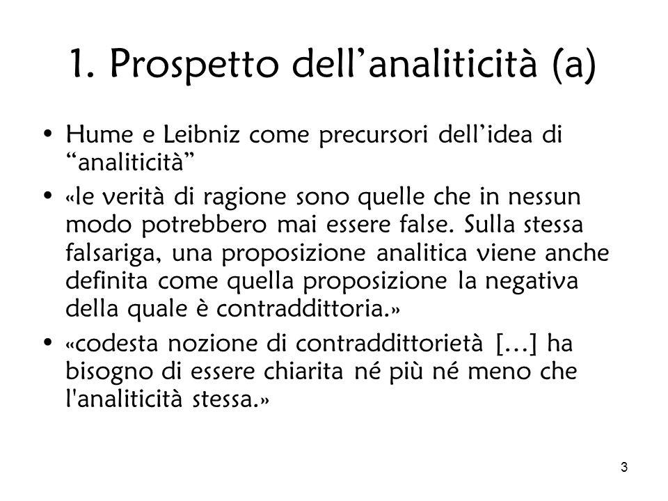 3 1. Prospetto dellanaliticità (a) Hume e Leibniz come precursori dellidea di analiticità «le verità di ragione sono quelle che in nessun modo potrebb