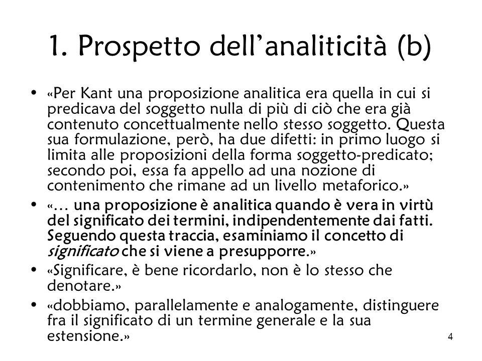 4 1. Prospetto dellanaliticità (b) «Per Kant una proposizione analitica era quella in cui si predicava del soggetto nulla di più di ciò che era già co