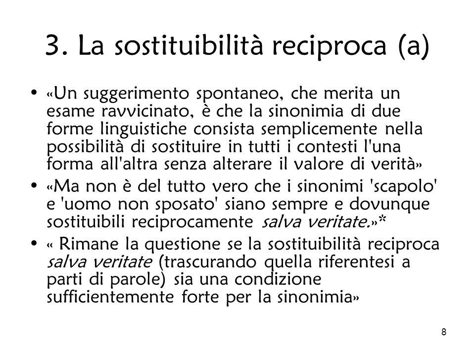 8 3. La sostituibilità reciproca (a) «Un suggerimento spontaneo, che merita un esame ravvicinato, è che la sinonimia di due forme linguistiche consist