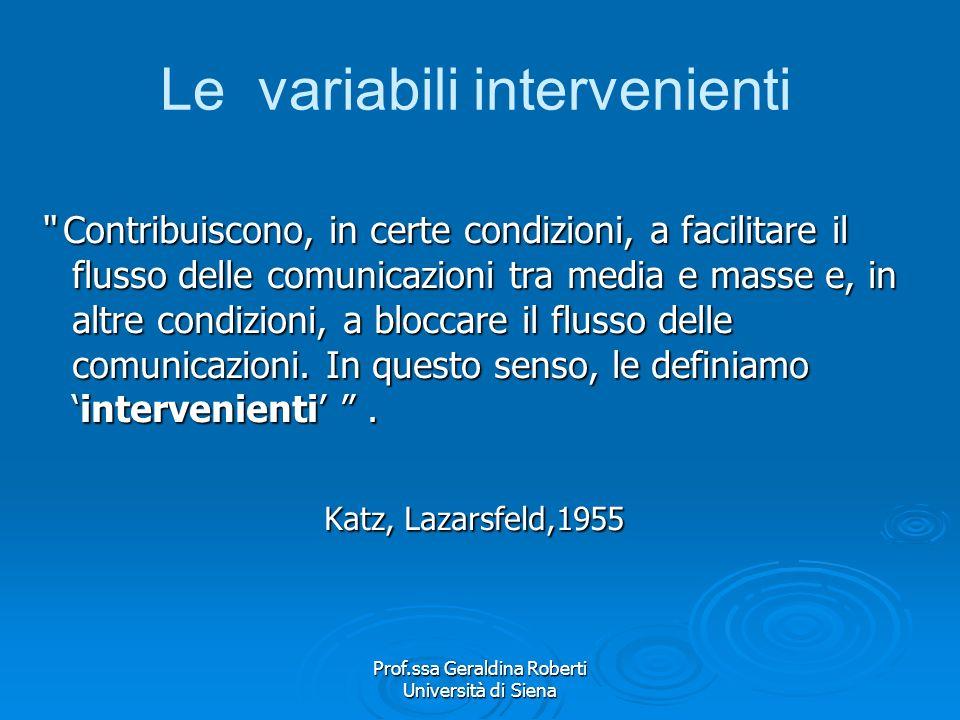 Prof.ssa Geraldina Roberti Università di Siena Le teorie degli effetti limitati Dalliniziale teoria behaviorista S–R, una volta inserite le variabili