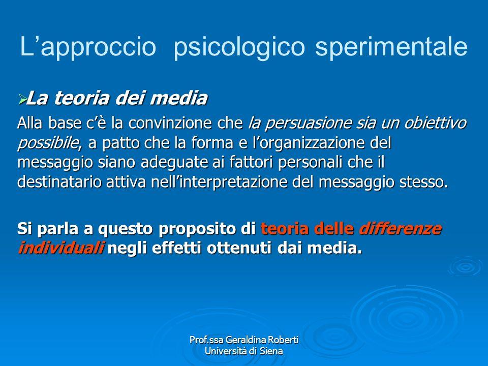 Prof.ssa Geraldina Roberti Università di Siena Il modello comunicativo Il modello comunicativo Il modello comunicativo alla base degli studi psicologi