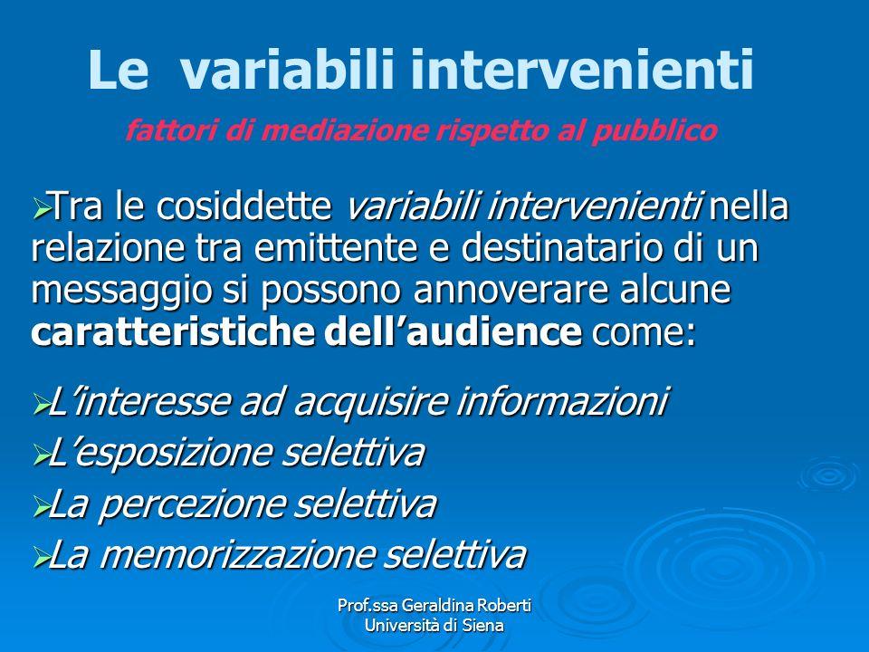 Prof.ssa Geraldina Roberti Università di Siena Il ruolo delle variabili intervenienti Rispetto al pubblico Rispetto al pubblico Rispetto alla fonte Ri