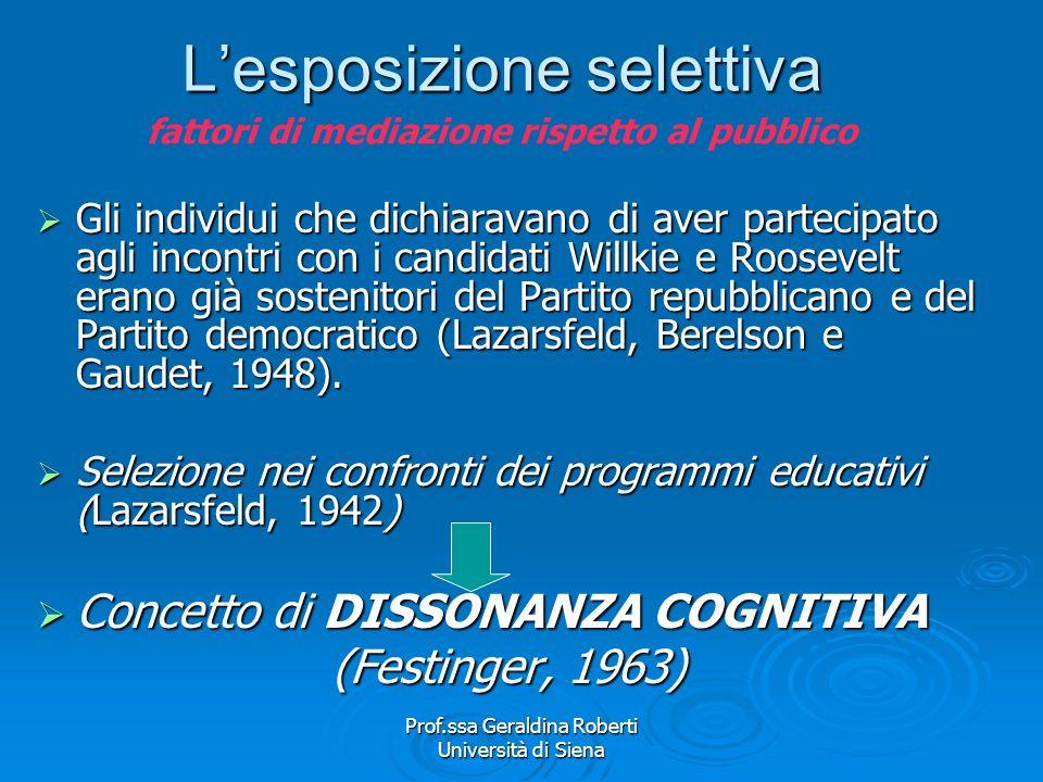 Prof.ssa Geraldina Roberti Università di Siena Linteresse ad acquisire linformazione Ricerca di Lazarsfeld, Berelson e Gaudet sulla campagna presidenz
