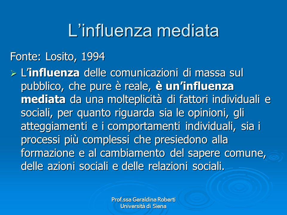 Prof.ssa Geraldina Roberti Università di Siena Influenza mediata - implicazioni Labbandono del tradizionale modello comportamentista dei processi di c