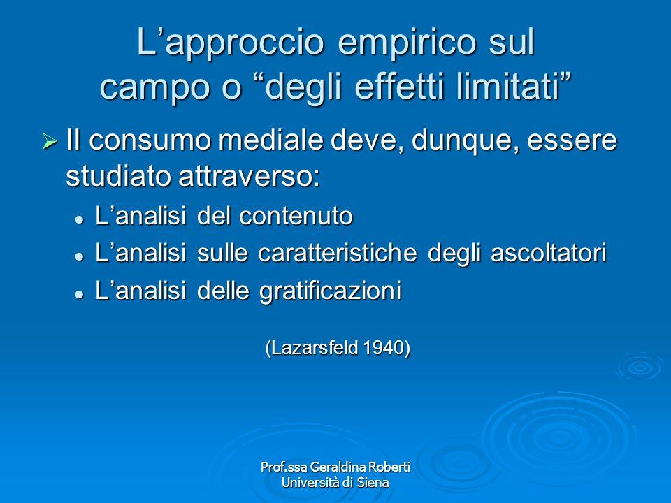 Prof.ssa Geraldina Roberti Università di Siena Lapproccio empirico sul campo o degli effetti limitati Se la teoria ipodermica parlava di manipolazione