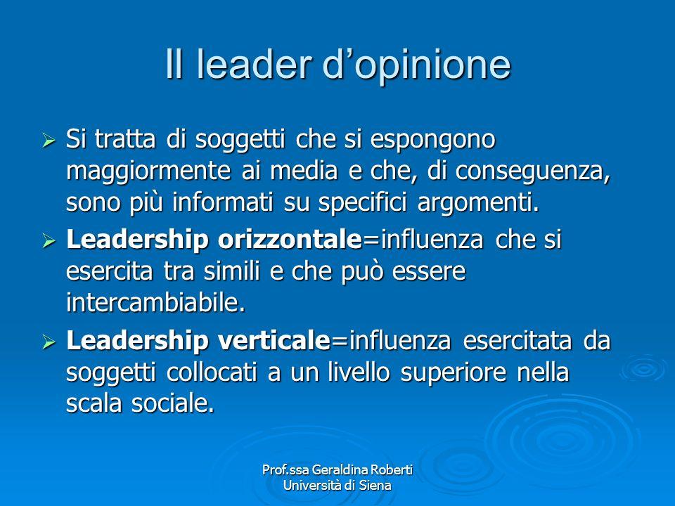 Prof.ssa Geraldina Roberti Università di Siena Il MODELLO COMUNICATIVO è quello del flusso di comunicazione due fasi. Mass media = Opinion leader = al