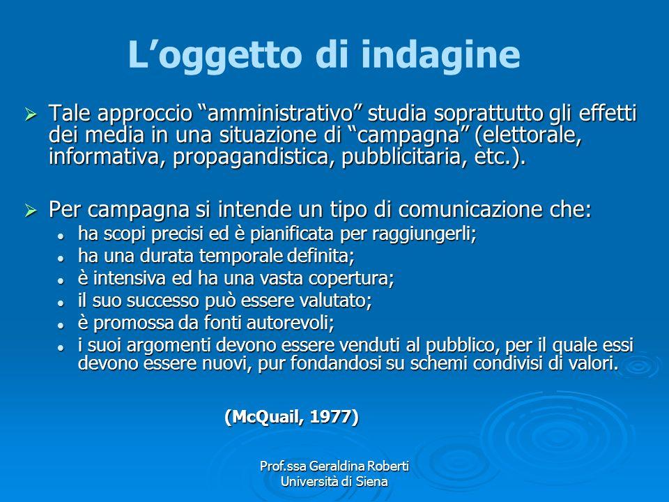 Prof.ssa Geraldina Roberti Università di Siena La Mass Communication Research La ricerca amministrativa fornisce dati utili ad aumentare lefficacia de