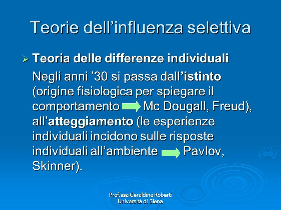 Prof.ssa Geraldina Roberti Università di Siena Teorie dellinfluenza selettiva De Fleur/Ball Rokeach La fase del ridimensionamento del potere dei media