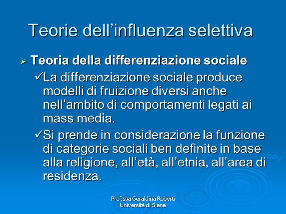 Prof.ssa Geraldina Roberti Università di Siena Teorie dellinfluenza selettiva Teoria delle differenze individuali Teoria delle differenze individuali