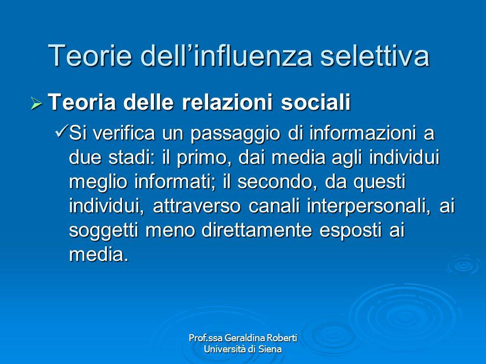 Prof.ssa Geraldina Roberti Università di Siena Teorie dellinfluenza selettiva Teoria della differenziazione sociale Teoria della differenziazione soci