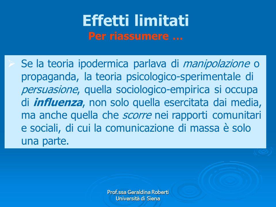 Prof.ssa Geraldina Roberti Università di Siena Teorie dellinfluenza selettiva Teoria delle relazioni sociali Teoria delle relazioni sociali Si verific