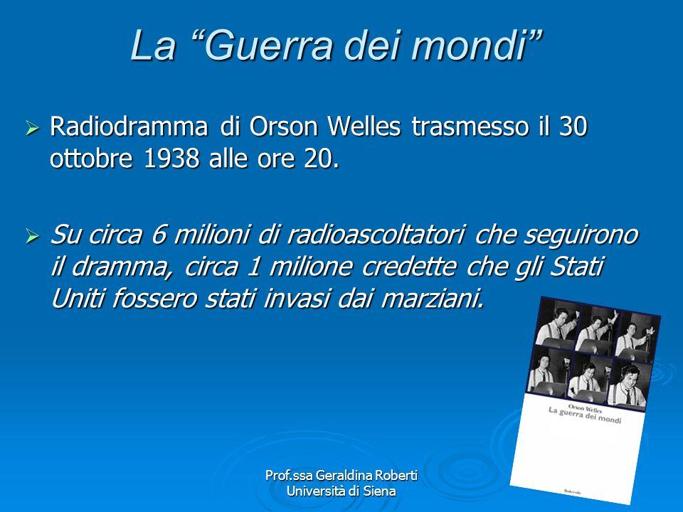 Prof.ssa Geraldina Roberti Università di Siena I fattori di mediazione La consapevolezza della complessità del rapporto che lega le audience ai media