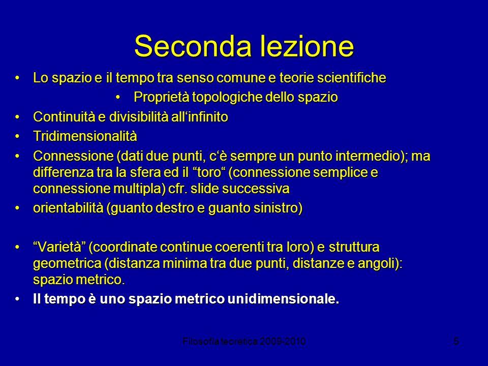 Filosofia teoretica 2009-20105 Seconda lezione Lo spazio e il tempo tra senso comune e teorie scientificheLo spazio e il tempo tra senso comune e teor