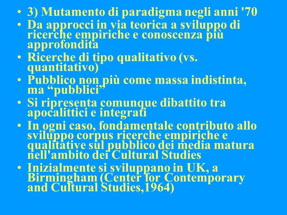 3) Mutamento di paradigma negli anni 70 Da approcci in via teorica a sviluppo di ricerche empiriche e conoscenza più approfondita Ricerche di tipo qualitativo (vs.
