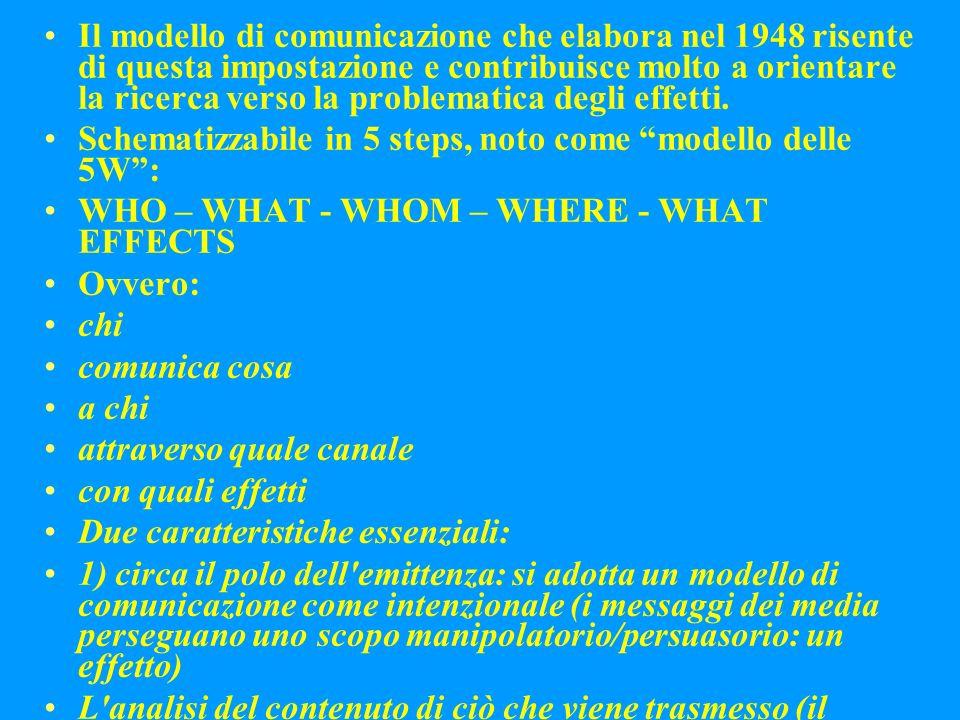 Il modello di comunicazione che elabora nel 1948 risente di questa impostazione e contribuisce molto a orientare la ricerca verso la problematica degli effetti.