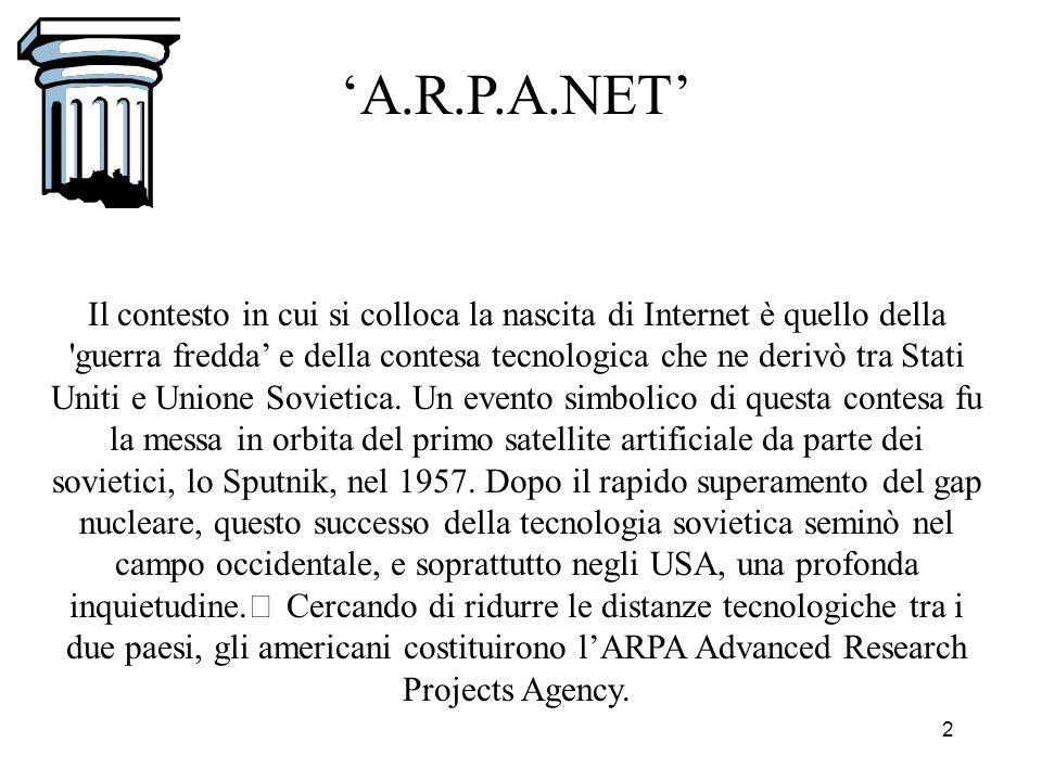 La Storia di Internet Era il 1966 quando a Washington Bob Taylor propose al responsabile dellArpa il finanziamento di un progetto che consentisse lo scambio di risorse tra i computer dei vari laboratori universitari impegnati nella ricerca sulle tecnologie innovative.