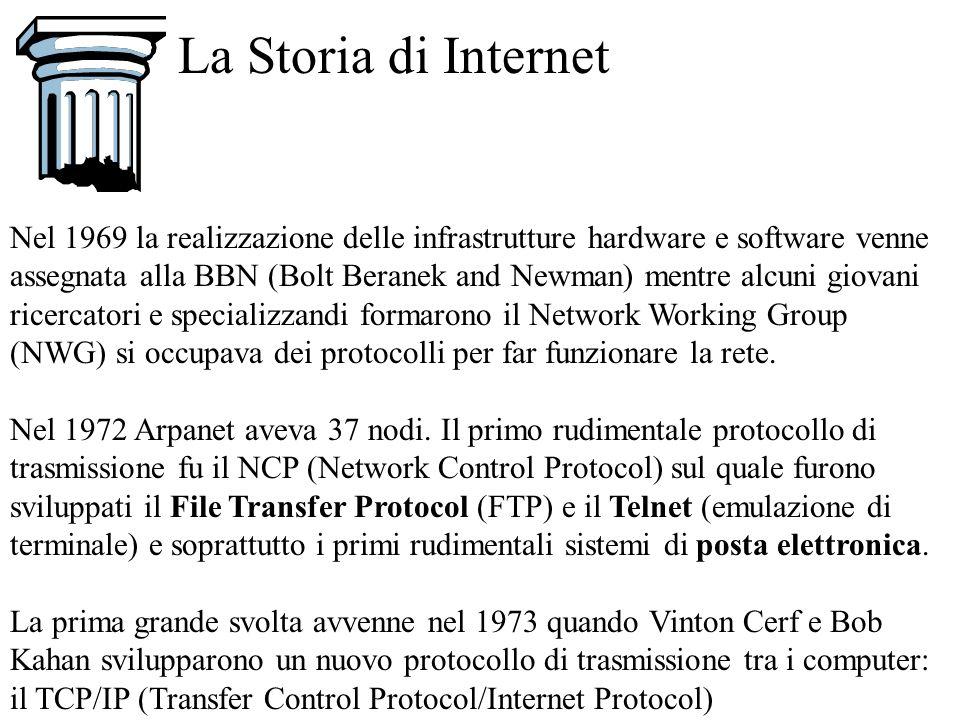 La Storia di Internet Nel 1969 la realizzazione delle infrastrutture hardware e software venne assegnata alla BBN (Bolt Beranek and Newman) mentre alc