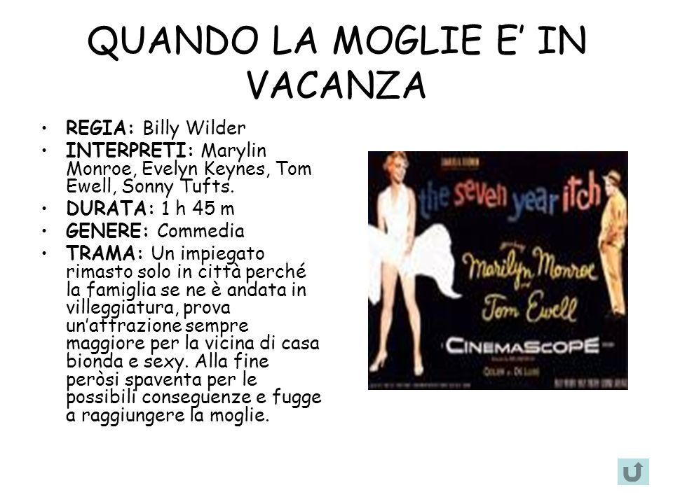 QUANDO LA MOGLIE E IN VACANZA REGIA: Billy Wilder INTERPRETI: Marylin Monroe, Evelyn Keynes, Tom Ewell, Sonny Tufts.