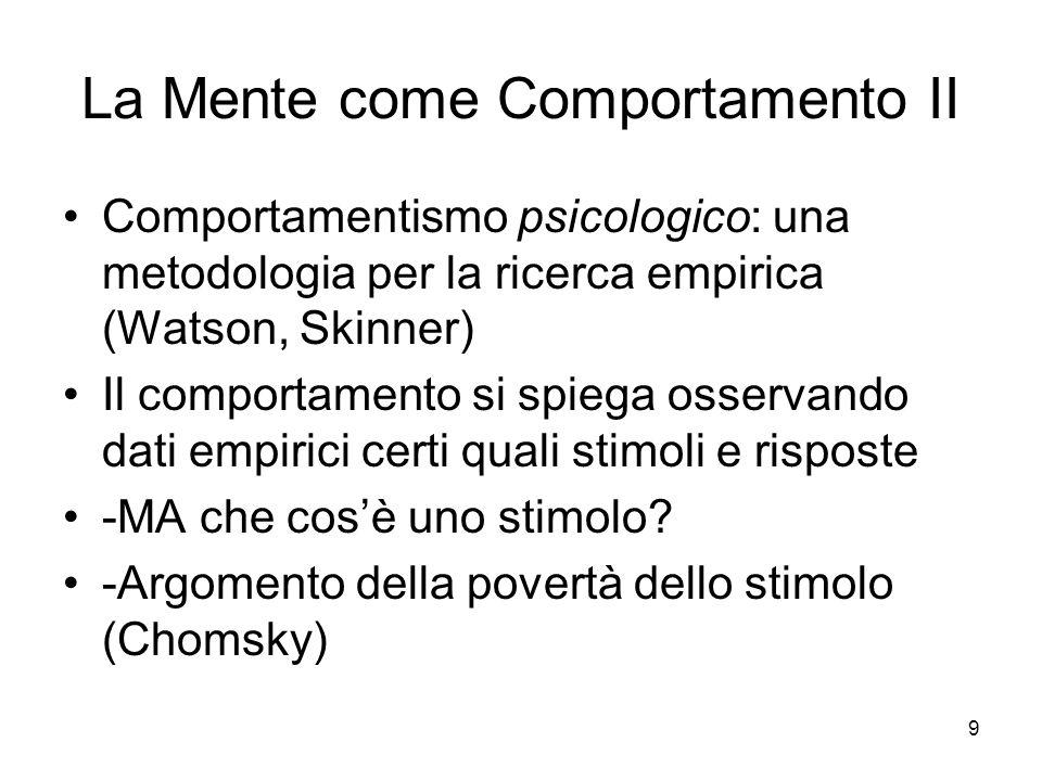 9 La Mente come Comportamento II Comportamentismo psicologico: una metodologia per la ricerca empirica (Watson, Skinner) Il comportamento si spiega osservando dati empirici certi quali stimoli e risposte -MA che cosè uno stimolo.