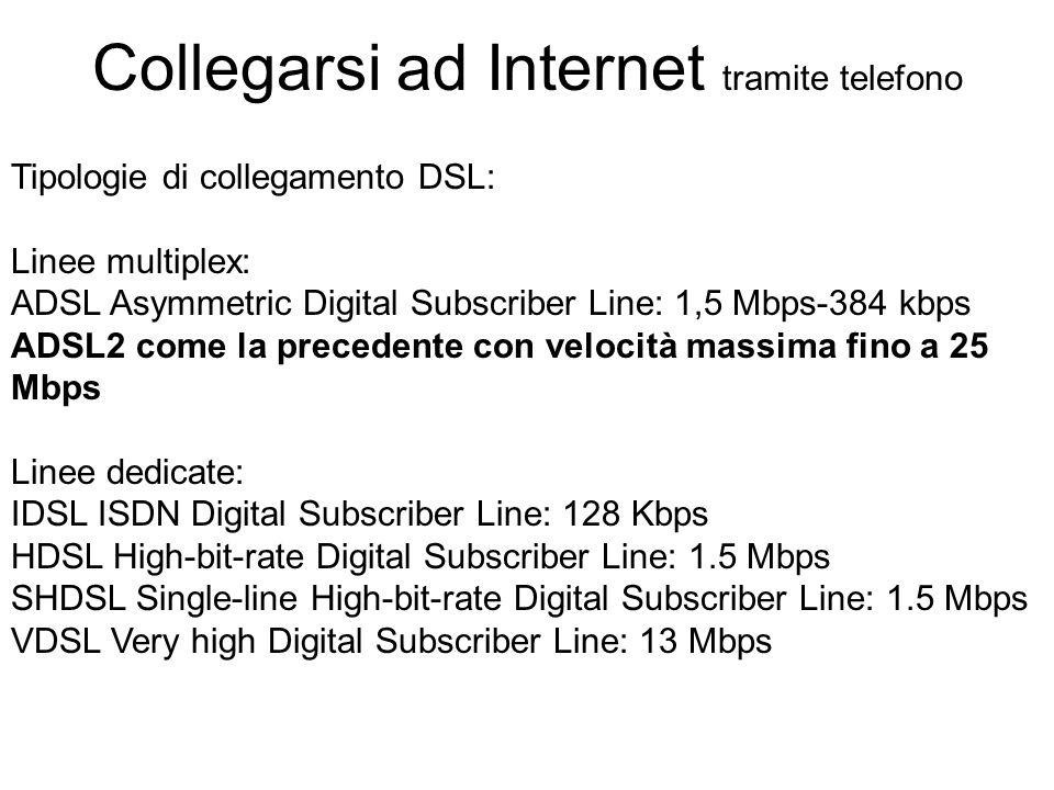 Tipologie di collegamento DSL: Linee multiplex: ADSL Asymmetric Digital Subscriber Line: 1,5 Mbps-384 kbps ADSL2 come la precedente con velocità massima fino a 25 Mbps Linee dedicate: IDSL ISDN Digital Subscriber Line: 128 Kbps HDSL High-bit-rate Digital Subscriber Line: 1.5 Mbps SHDSL Single-line High-bit-rate Digital Subscriber Line: 1.5 Mbps VDSL Very high Digital Subscriber Line: 13 Mbps Collegarsi ad Internet tramite telefono
