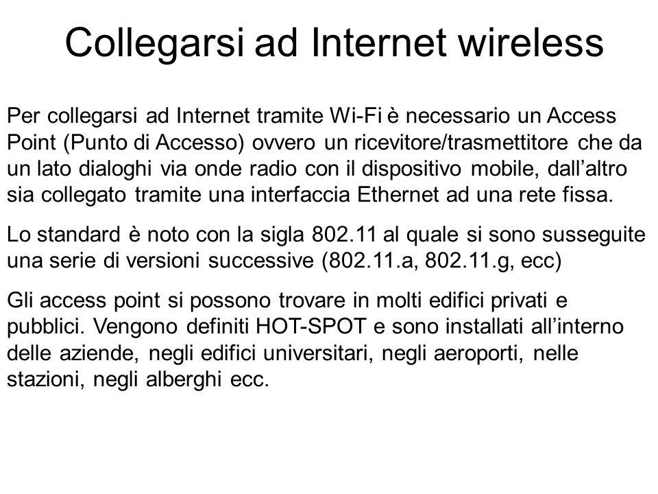 Per collegarsi ad Internet tramite Wi-Fi è necessario un Access Point (Punto di Accesso) ovvero un ricevitore/trasmettitore che da un lato dialoghi via onde radio con il dispositivo mobile, dallaltro sia collegato tramite una interfaccia Ethernet ad una rete fissa.