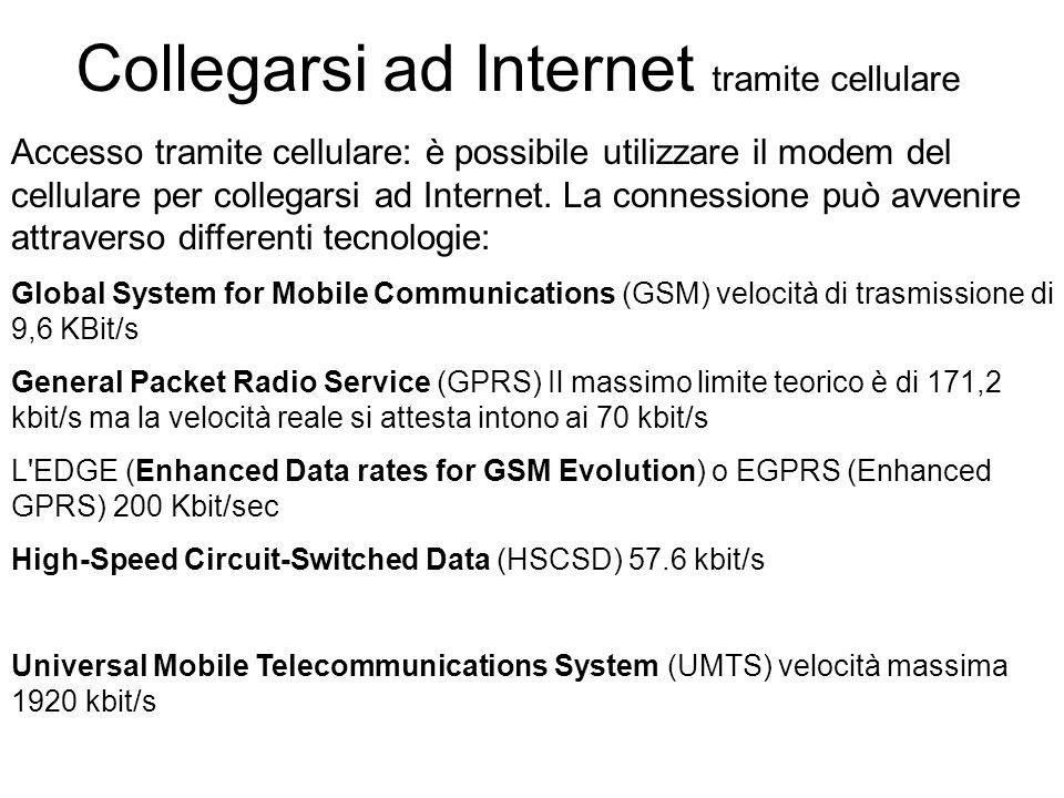 Collegarsi ad Internet tramite cellulare Accesso tramite cellulare: è possibile utilizzare il modem del cellulare per collegarsi ad Internet.