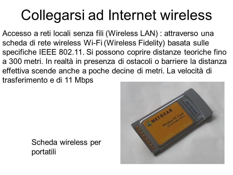 Collegarsi ad Internet wireless Accesso a reti locali senza fili (Wireless LAN) : attraverso una scheda di rete wireless Wi-Fi (Wireless Fidelity) basata sulle specifiche IEEE 802.11.
