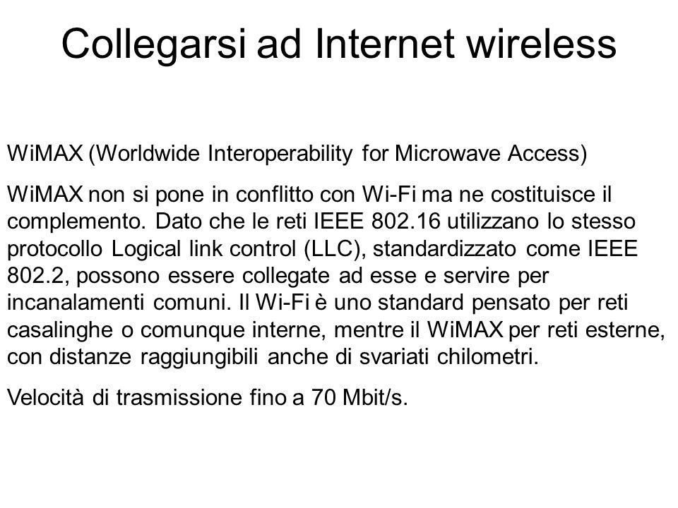 WiMAX (Worldwide Interoperability for Microwave Access) WiMAX non si pone in conflitto con Wi-Fi ma ne costituisce il complemento.