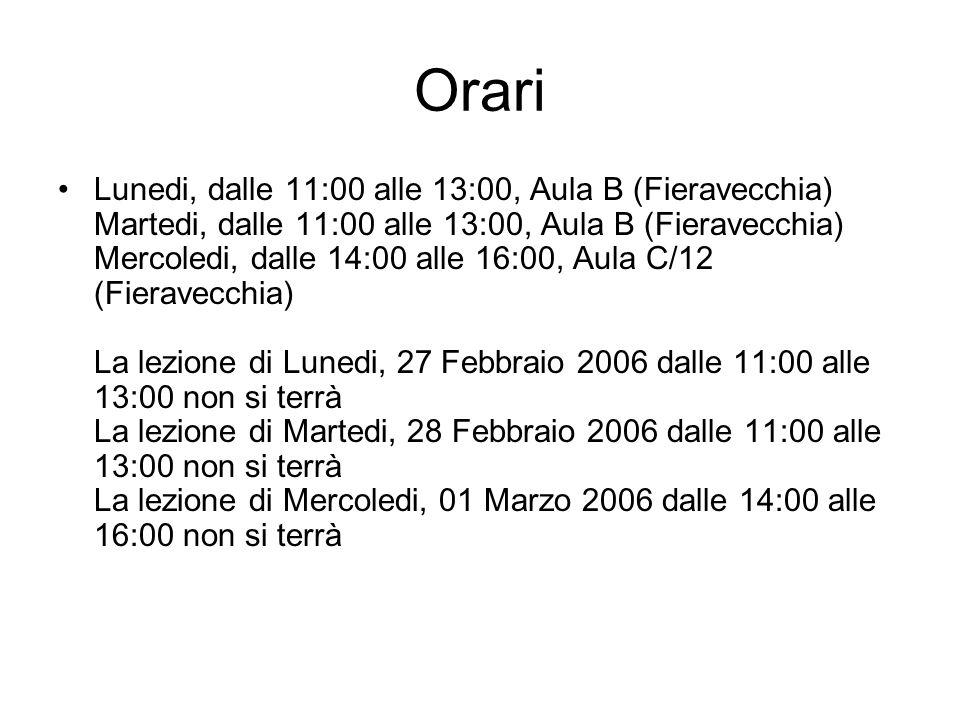 Orari Lunedi, dalle 11:00 alle 13:00, Aula B (Fieravecchia) Martedi, dalle 11:00 alle 13:00, Aula B (Fieravecchia) Mercoledi, dalle 14:00 alle 16:00,