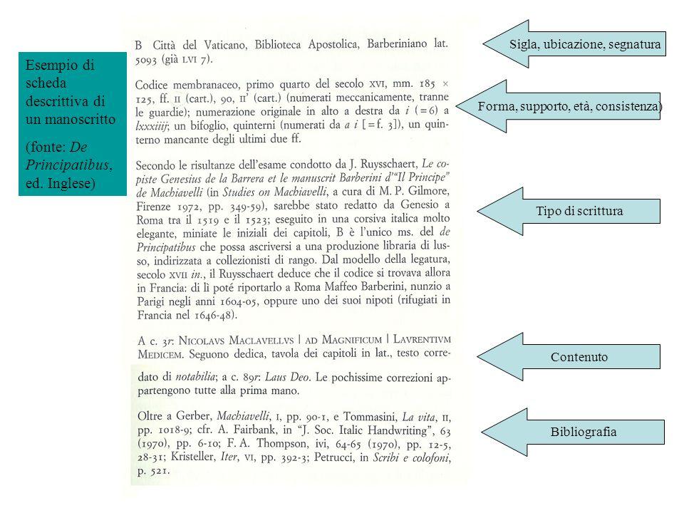 Esempio di scheda descrittiva di un manoscritto (fonte: De Principatibus, ed. Inglese) Sigla, ubicazione, segnatura Forma, supporto, età, consistenza)
