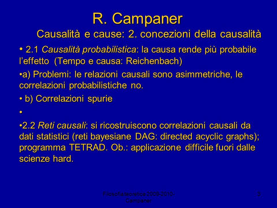 Filosofia teoretica 2009-2010- Campaner 4 R.Campaner Causalità e cause: 2.