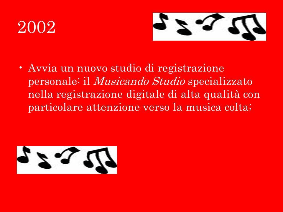 2002 Avvia un nuovo studio di registrazione personale: il Musicando Studio specializzato nella registrazione digitale di alta qualità con particolare attenzione verso la musica colta;