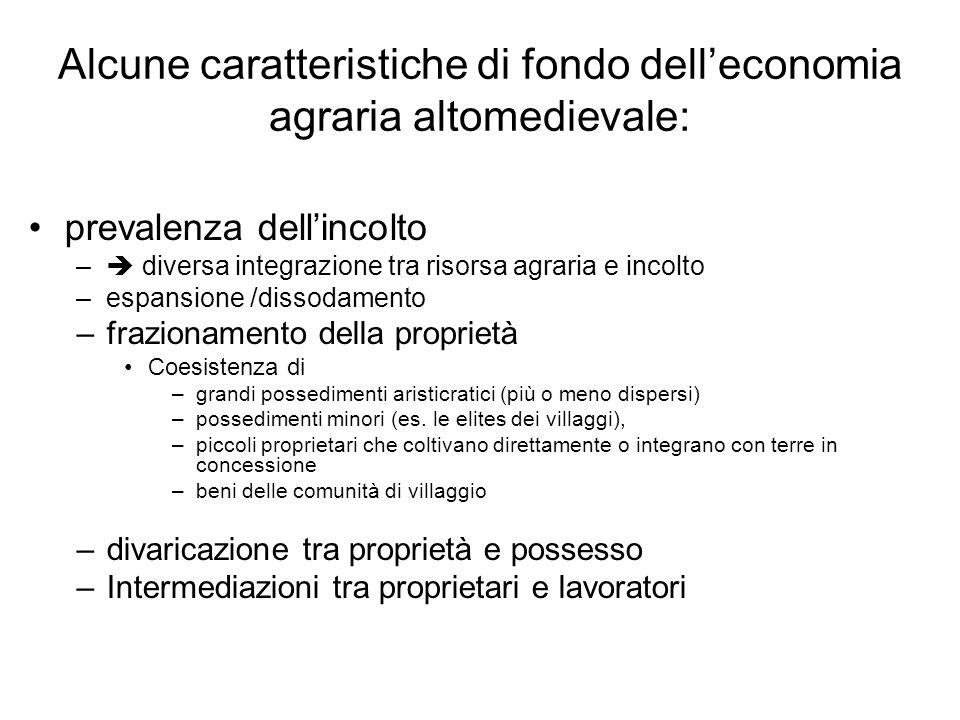 Alcune caratteristiche di fondo delleconomia agraria altomedievale: prevalenza dellincolto – diversa integrazione tra risorsa agraria e incolto –espan