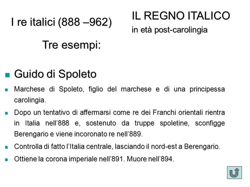 Guido di Spoleto Guido di Spoleto Marchese di Spoleto, figlio del marchese e di una principessa carolingia. Marchese di Spoleto, figlio del marchese e