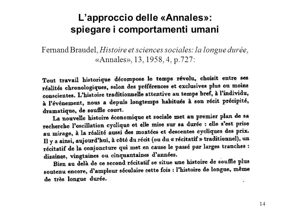 14 Lapproccio delle «Annales»: spiegare i comportamenti umani Fernand Braudel, Histoire et sciences sociales: la longue durée, «Annales», 13, 1958, 4,