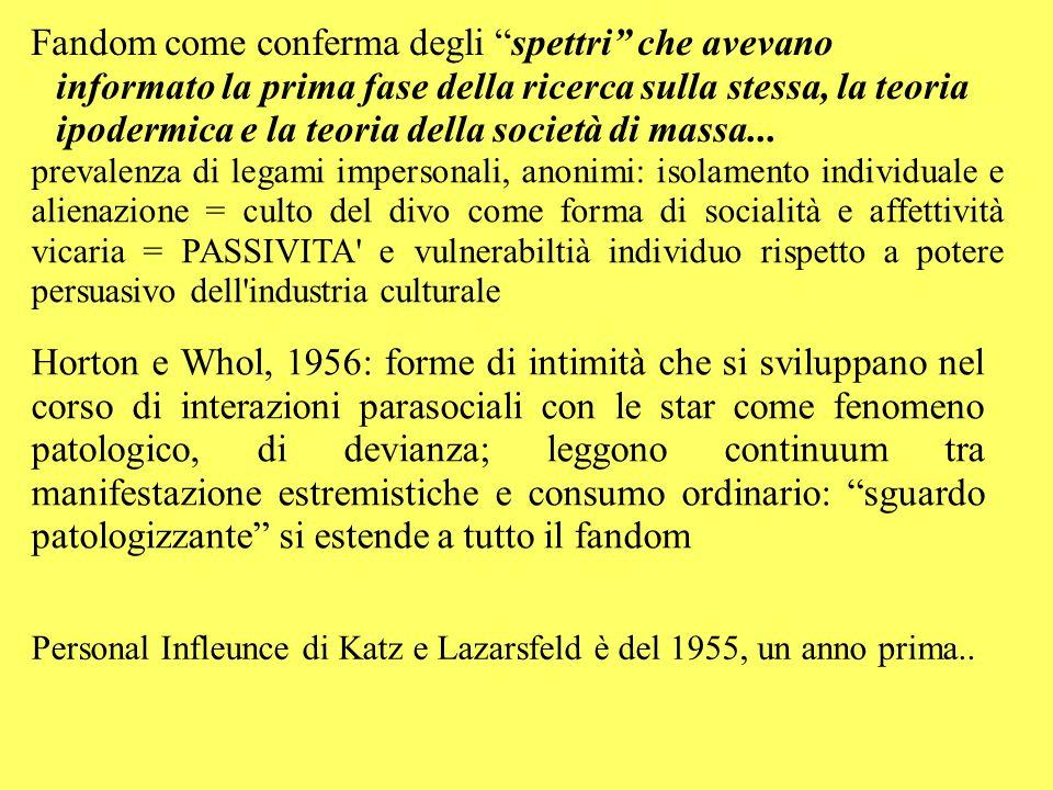 Fandom come conferma degli spettri che avevano informato la prima fase della ricerca sulla stessa, la teoria ipodermica e la teoria della società di massa...