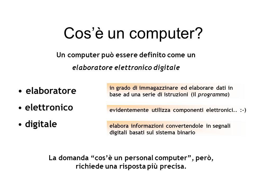 elaboratore elettronico digitale Un computer può essere definito come un elaboratore elettronico digitale in grado di immagazzinare ed elaborare dati in base ad una serie di istruzioni (il programma) evidentemente utilizza componenti elettronici..
