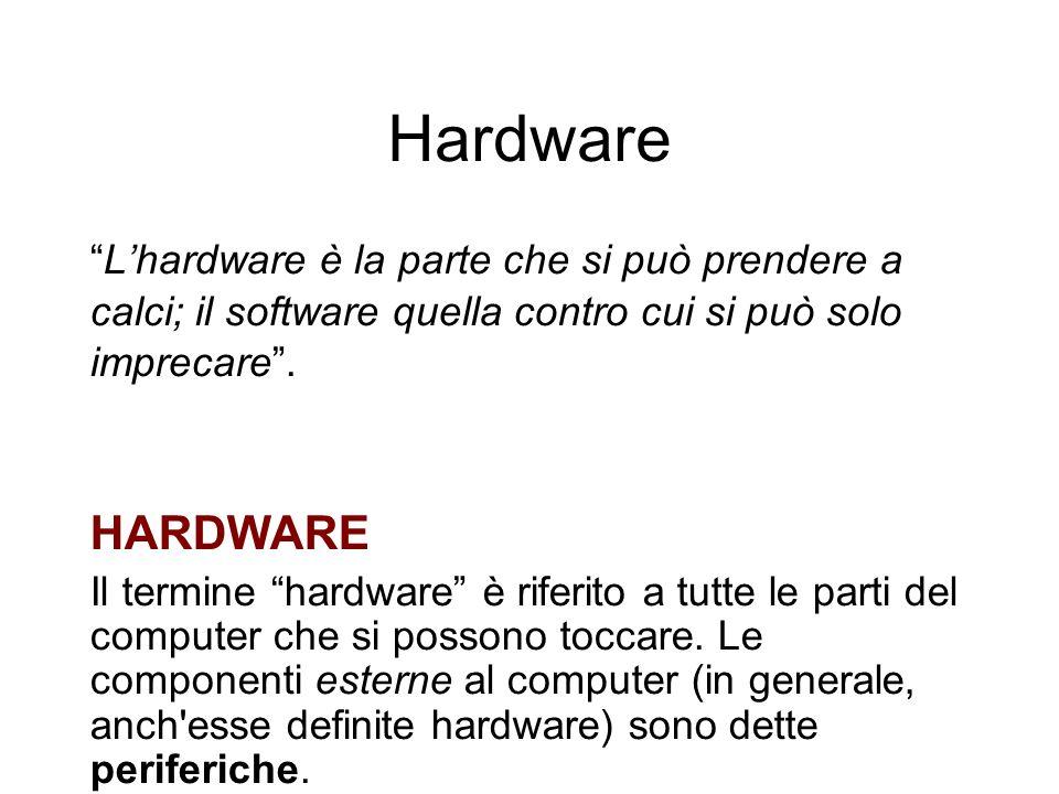 Hardware Lhardware è la parte che si può prendere a calci; il software quella contro cui si può solo imprecare.