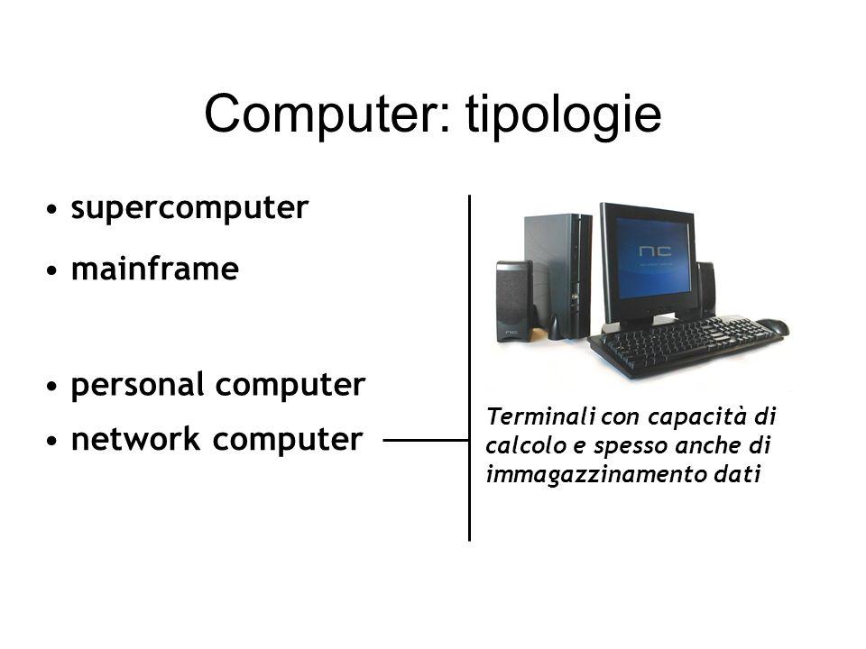 Computer: tipologie mainframe personal computer network computer supercomputer Utilizzo individuale: desktop(da scrivania) workstation(professionale)